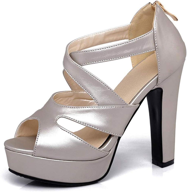WUZE kvinnor Sandals Sandals Sandals sommar Square hög klack Platform kvinnor skor Back Zip Peep Toe Ladies bröllop skor  noll vinst