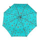 DXZ-Design Compacto viaje paraguas plegable sol lluvia a prueba de viento niños mujeres hombres azul turquesa pequeñas flores florales
