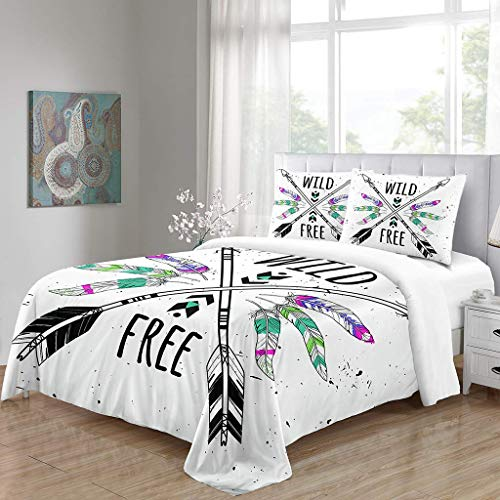 Simproude Quilt Duvet Cover and Two Pillowcases Ultra Soft Hypoallergenic Microfiber Bedding Set 3 pcs with Zipper Closure - arrow