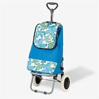 LQBDJPYS Shopping Trolley Lightweight Folding 2 Wheel Capacity Shopper Luggage Cart Folding Luggage Bags (Color : Blue)