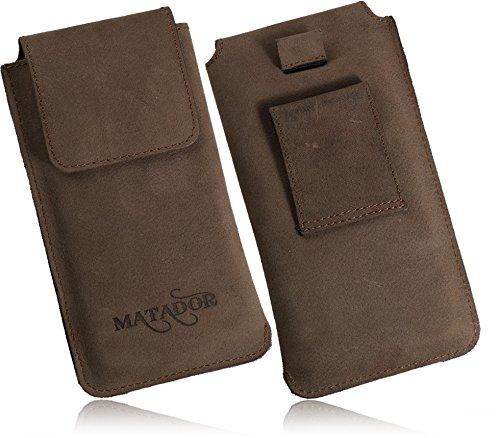 MATADOR Huawei P20/ P20 LITE/ P30/ P30 LITE Senkrecht ECHT Vertikal-Tasche Ledertasche Leder-Hülle Breite Gürtelschlaufe Magnetverschluss Ausziehhilfe Braun