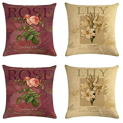 JOVEGSRVA Juego de 4 fundas de cojín decorativas de lino para el hogar, oficina, sofá, coche, jardín, 45 x 45 cm