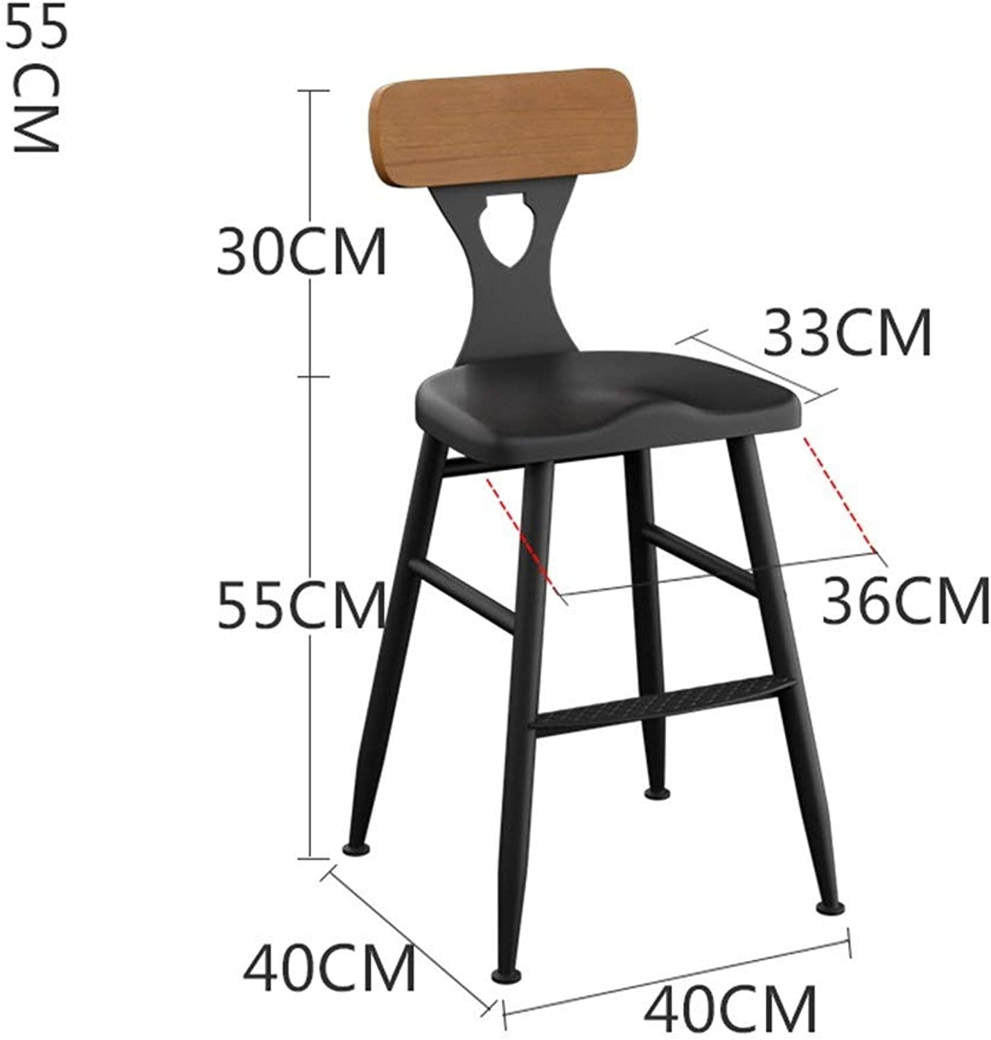 DDLD Bar Stools, Retro Industrial Style Iron Art Bar Chair Kitchen Stools Dining Chairs with Backrest Height Optional for Breakfast Bar, Counter, Kitchen and Home Barstools (color   B, Size   55CM)