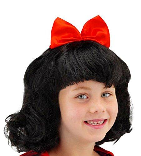 Folat 26800 – Perruque Blanche Neige pour Enfants, Noir/Rouge