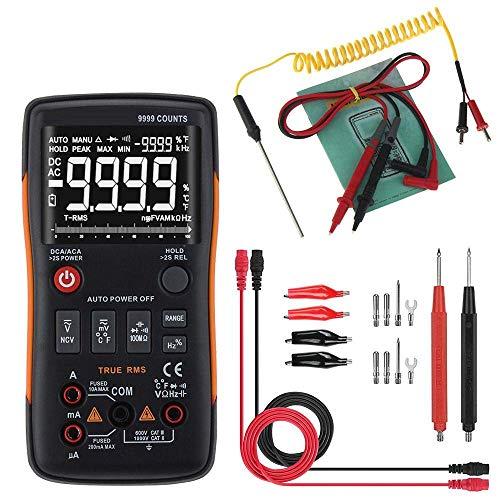 DJY-JY Multímetro digital, de verdadero valor eficaz Counts 9999 Ohm Tensión amperímetro multímetro digital con botones Gráfico de barras analógico probadores