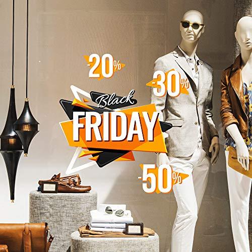kina CRBF0002 Vitrophanie de Black Friday réutilisables décorations adhésives pour vitrines repositionnables et réutilisables à volonté