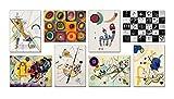 LuxHomeDecor - Cuadros Kandinsky de 8 piezas, 40 x 30 cm, impresión sobre lienzo con marco de madera, decoración artística moderna