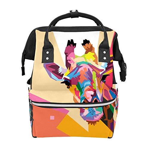 Colorido Pop Art - Mochila escolar con diseño de jirafa, gran capacidad para momia, portátil, mochila de viaje, casual, para mujeres, hombres, adultos, adolescentes y niños