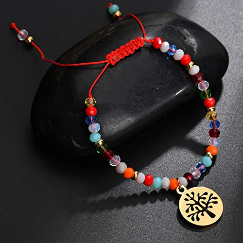 KUANGLANG Pulsera con Colgante de árbol de la Vida de Acero Inoxidable, Cuerda roja, Cuentas Coloridas, Pulsera Trenzada para Mujer