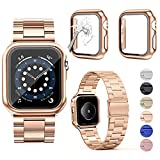 OMEE Correa de Metal para Apple Watch Correa 44mm 40mm 42mm 38mm, Correa de Repuesto de Metal de Acero Inoxidable Premium, Correa Comercial Compatible con iWatch Series 6/5/4/3/2/1/SE(40mm, oro rosa)