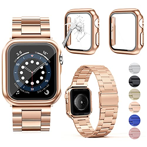 OMEE Correa de Metal para Apple Watch Correa 44mm 40mm 42mm 38mm, Correa de Repuesto de Metal de Acero Inoxidable Premium, Correa Comercial Compatible con iWatch Series 6/5/4/3/2/1/SE(44mm, oro rosa)
