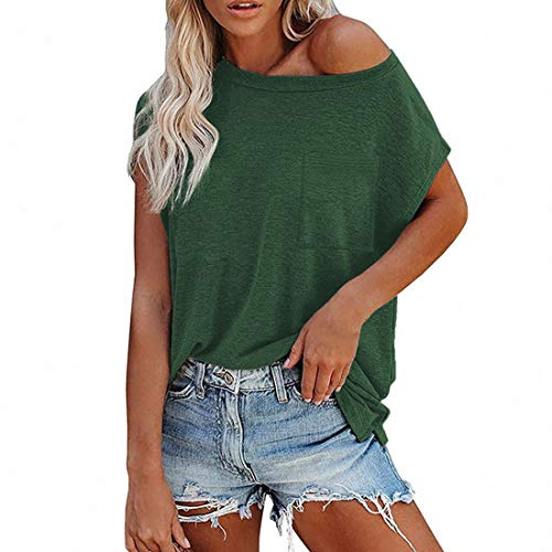 Tops de Mujer Fuera del Hombro Camiseta suéter Blusa Casual de Manga Corta Blusas de túnica Camisa Larga Top un Color sólido básicas Casuales Sexy Blusa Las Mujeres de Las Adolescentes Blusa t