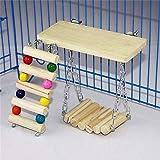 Whale city 3PCS / Set Escalera de Madera Swing Bridge Shelf Pet Set, Plataforma de Perchas de Escalera Flexible, para Parrot Bird Rat Hamster Pequeñas Mascotas