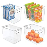mDesign Deep Plastic Food Storage Container Bin with Handles - for Kitchen, Pantry, Cabinet, Fridge/Freezer - Slim Organizer for Snacks, Produce, Pasta - 10' x 6.5' x 8' - 4 Pack - Clear