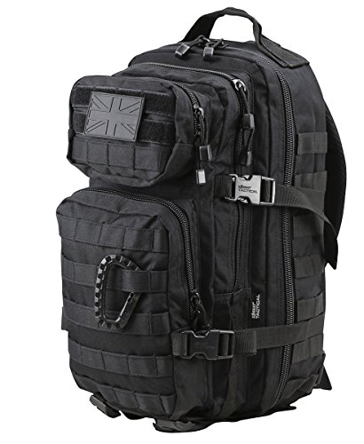 COMBAT ASSAULT PACK 28LTR BLACK ARMY STYLE DAYPACK AIRSOFT CADET TREKKING