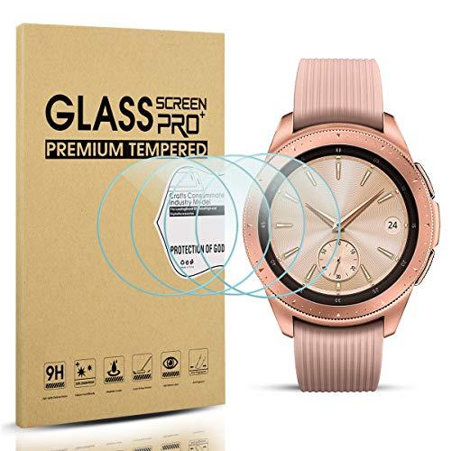 [4 Stück] Diruite für Samsung Galaxy Watch 42mm Panzerglas Schutzfolie, HD Glas Bildschirmschutzfolie für Samsung Galaxy 42mm Intelligente Uhr [Anti-Kratzen] [Anti-Öl] [Keine-Blasenfrei]