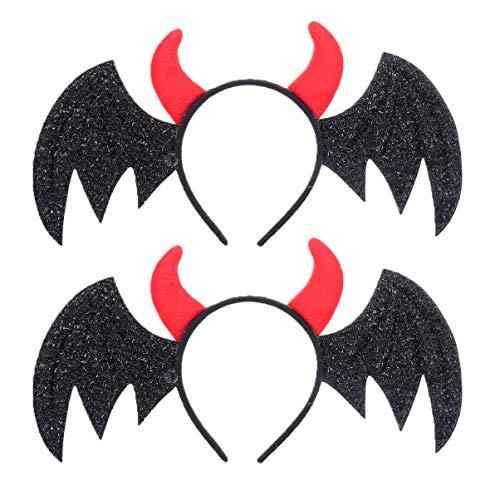 Lurrose - Diadema de cuerno de Halloween, 2 unidades, diseño de alas de murciélago, accesorio para el pelo, regalos para mujeres y niñas, disfraz de Halloween, suministros de fiesta