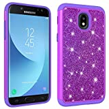 Anzeal Galaxy J7 2018 Back Case, Pattern Design Hard Plastic PC + TPU Soft 2in1 Hybrid Soft Silicone TPU Bumper Rubber Protective Phone Case Cover for Samsung Galaxy J7 2018 Purple