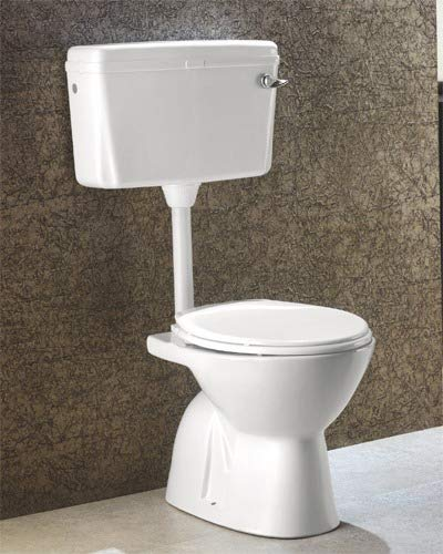 Ceramic Floor Mounted European Water Closet/Western Toilet Commode/EWC S Trap Concealed with Normal Seat Cover- White & Premium Normal Flush Flush Tank Combo