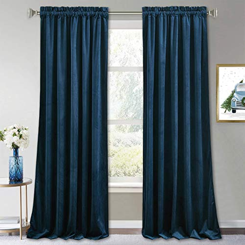 RYB HOME Velvet Curtains Blackout - Heavy-Duty Thermal Insulated Super Soft Drapes for Farmhouse Living Room Bedroom Dining Window Decor, Navy Blue, W 52 x L 84 inch, 2 Panels