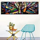 YHZSML Lienzo de Pintura de línea Abstracta de Gran tamaño para la decoración del hogar Línea Colorida Carteles de Pared Abstractos para la decoración de la habitación de los niños 50X150CM