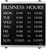 Heavy-duty plastic construction Business Hours sign Includes complete set of 176 1/4 inch characters Includes suction cups for easy display Contemporary design Measures 14 x 13 inches