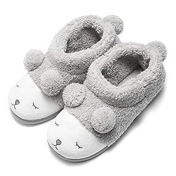 GaraTia Warm Indoor Slippers for Women Fleece Plush Bedroom Winter Boots Grey High Top 4-5.5 M US