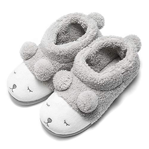 GaraTia Warm Indoor Slippers for Women Fleece Plush Bedroom Winter Boots Grey High Top 7-8.5 M US