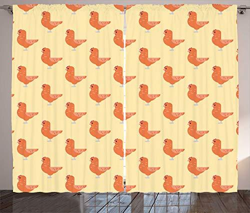 ABAKUHAUS Hähnchen Rustikaler Gardine, Haustierweg Symmetry, Schlafzimmer Kräuselband Vorhang mit Schlaufen und Haken, 280 x 175 cm, Yellow Salmon