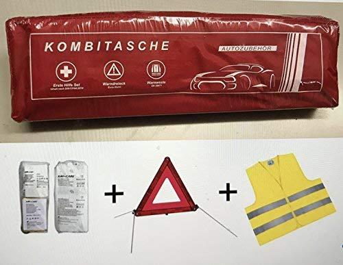 Phil trade Sacoche multifonctions pour véhicule Rouge Contient une trousse de secours conforme à la norme DIN 13164, un triangle de signalisation ECE et un gilet de sécurité