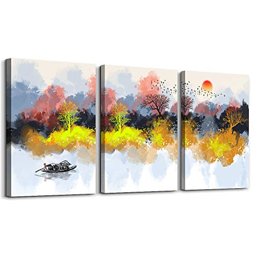 Abstract Watercolor painting inspirational Canvas Wall Art for Living Room Bedroom Decoration,Bathroom Wall Decor 3 Piece Home Decoration office decor Wall Painting Abstract landscape mural Artwork