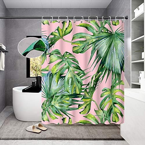 Housadora Palm Leaf Shower Curtain,Green Tropical Plant Print on Pink Shower Curtain Design,Waterproof Polyester Fabric Bathtub Curtain with 12 Hooks 72x72 inch
