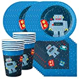 Robot Birthday Party Supplies Set for 12 - Includes 36 pcs Total: 12 Cups, 12 Plates, 12 Napkins