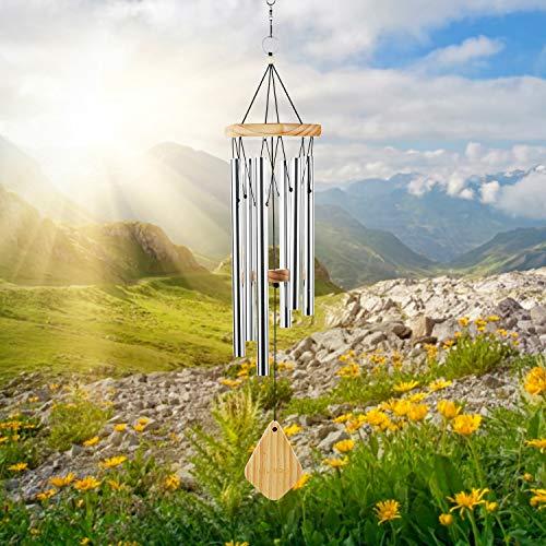 Lemecima Premiere Grande Tunes Windspiel, 6 Rohre Windspiel, Windspiel Gesamtlänge: 77cm, Rostfreies Aluminium, Dekorativ für Garten und Balkon