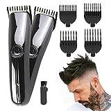 regolabarba uomo, rifinitore e tagliacapelli con lame affilate di lunga durata, lunghezza del taglio di capelli regolabile con 4 pettine limite