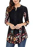 Dokotoo Blouse Femme Tunique T-Shirt Manche 3 4 Imprimé Fleur Top Chic Printemps, Noir, XXL(EU 52-54)