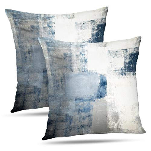 Alricc Blue and Grey Throw Pillow Covers 20x20 Teal, 2 Pack Square Decorative Pillow Cases Cushion for Farmhouse Home Decor