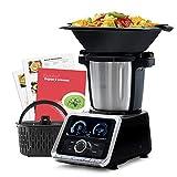 Mellerware - Robot de Cocina Tasty! Capacidad 3.5L Temperatura hasta 120ºC. Temporizador. 12 velocidades + TURBO. Incluye +200 recetas. Báscula integrada. Color Negro