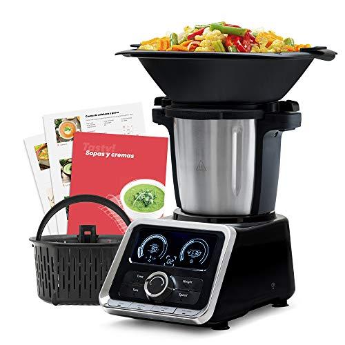 Mellerware Robot de Cocina Multifunción Tasty! Capacidad 2.5 L Temperatura hasta 120ºC. 13 velocidades Incluye Recetario +200 Recetas, balanza incorporada. Jarra Apta Lavavajillas. Color Negro.