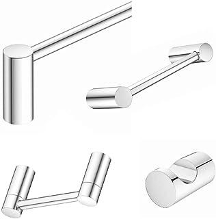 "Aviano Collection - Elegant Design 4-Piece Bathroom Hardware Accessory Set Includes 24"" Towel Bar, Hand Towel Bar, Toilet Paper Holder and Robe Hook (Chrome, 4 - Piece Bath Set)"
