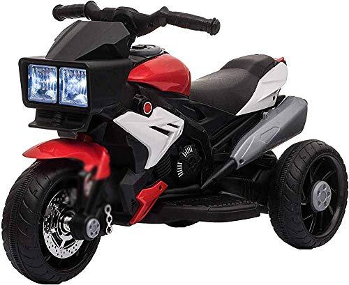 Triciclo para niños con pedales 6V Batería con música ligera Neumático de ancho Niños Motocicleta eléctrica de tres ruedas,Black Red