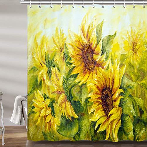 JAWO Sonnenblumen-Duschvorhang für Badezimmer, Ölgemälde mit gelben Blumen, Kunstwerk, Beruf, Polyester-Stoff, Badezubehör, Set mit 12 Haken, 177,9 x 177,8 cm