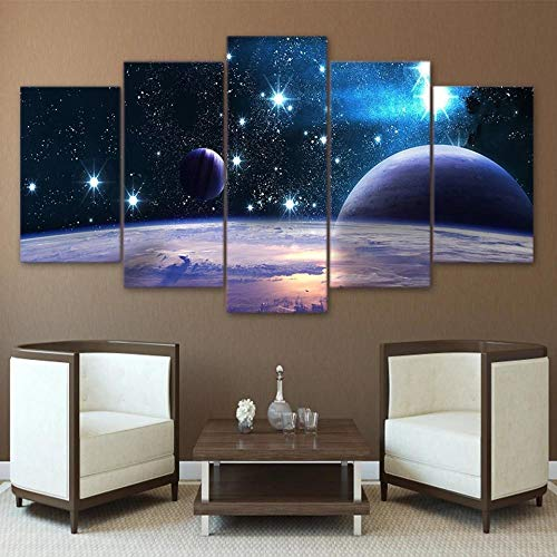 YTFOPLK Lienzo Impreso Universo Galaxy 5 Panel reflexión Espacio Planeta Imagen Modular decoración del hogar Impresiones de Carteles Pintura de Arte de Pared'-100X55CM