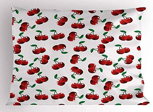 N \ A Frutas Almohada Sham, Vibrantes Cerezas Vitamina Agricultura Exótica Verano Jardín Patrón Decorativo, Tamaño Individual Impreso, 86 x 50 cm, Ruby Hunter Green Coconut