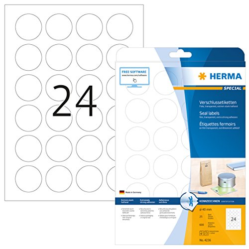 HERMA 4236 Verschlussetiketten DIN A4 transparent (Ø 40 mm, 25 Blatt, Polyesterfolie, matt, rund) selbstklebend, bedruckbar, extrem stark haftende Klebepunkte, 600 Klebeetiketten, durchsichtig