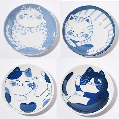 Japanese small plate set, ceramic, cute cats design, appetizer, dessert, sushi sauce 3.94' x 0.8',set of 4