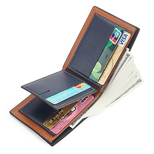 Stylish Men Bifold Wallet with RFID Blocking Slim Minimalist Front Pocket Wallet (Slim black)