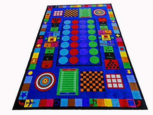 Kids World Carpets Game Time Tufted Nylon Children's Educational and Play Area Rug - 5' x 8'