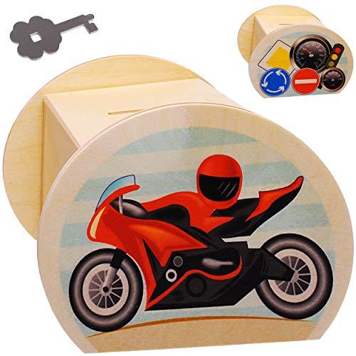 alles-meine.de GmbH große Holz - Spardose - Motorrad / Motorradhelm - mit Schlüssel & Schloß - stabile Sparbüchse - 11,5 cm - Sparschwein - für Kinder & Erwachsene - Kinderspardo..
