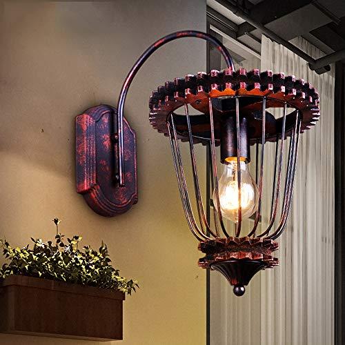 Antik Wandleuchte,Vintage Metall Industrie Wandlampe Schwarz Eisen E27 Halter Innen Art Deco für Bar, Schlafzimmer, Küche, Restaurant, Café, Flur